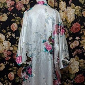 Other - Silky White robe kimono with teal peacocks
